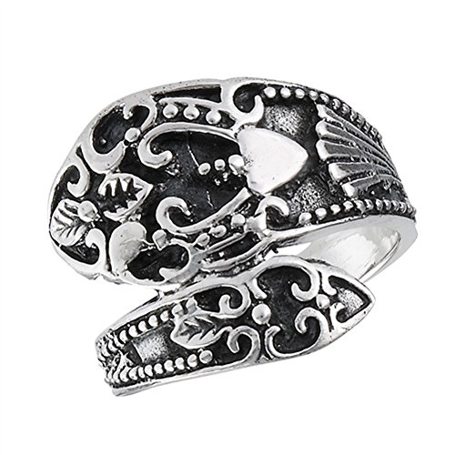 Oxidized Vintage Filigree Heart Spoon Ring Sterling Silver Thumb Band Size 8 ()