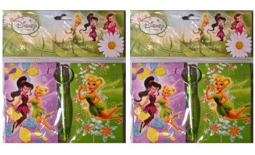 Disney Pixar (2 Pack) Tinkerbell 2 Piece Memo Pad Set With Pen (Pads Tinkerbell Memo)