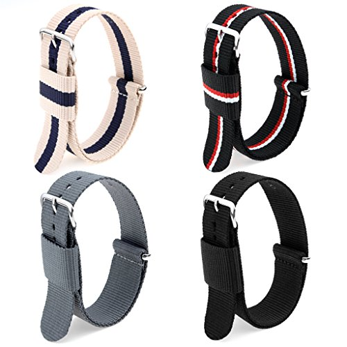 4pc 22mm Nato Ss Nylon strap Black ,smoke grey ,black/white/red,blue/coffee Replacement Watch Band