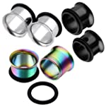 JOVIVI 6pc Mix color Gauges Set Stainless steel Single Flared Ear Tunnels Plugs Stretcher Jewelry