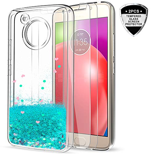 Moto E4 Case (USA Version) (Not Fit E4 Plus) with Tempered Glass Screen Protector [2 Pack] for Girls,LeYi Glitter Shiny Liquid Protective Phone Case for Motorola E (4th Generation) ZX Turquoise