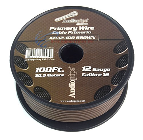 - 12 GA gauge 100' Brown Audiopipe Car Audio Home Primary Wire LED