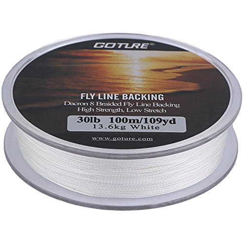 - Goture 8 Strands Braided Dacron Fly Fishing Line Backing for Trout Bass Pike in the Saltwater Freshwater 30lb 109yd (30lb White)