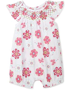Wild Flower Sunsuit, Pink Print