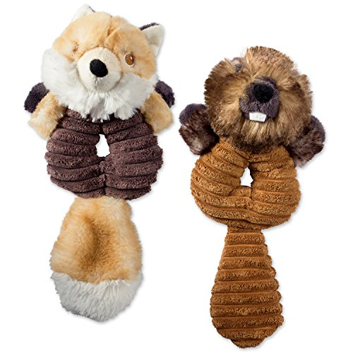 Bone Dry DII Crinkle Noise, Squeaking Ring Body Dog Toy, 2 Piece Charlie Fox & Bo Beaver Woodland Friends Pet Toy for Small, Medium and Large Dogs