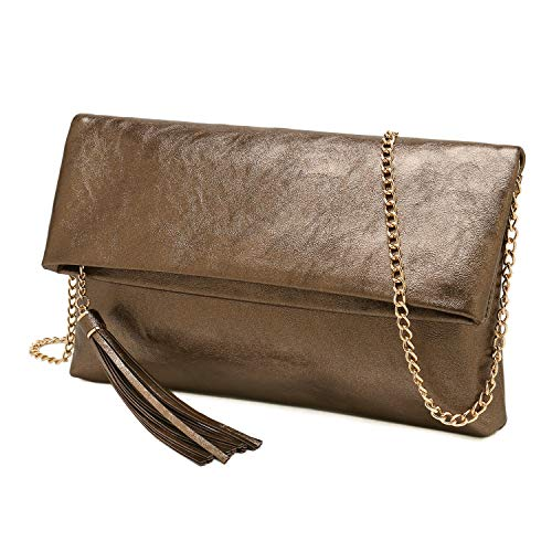 - Charming Tailor Foldover Clutch Purse for Women Tassel Bag PU Leather Purse for Party(Metallic Bronze)