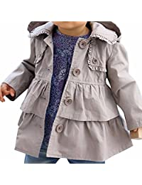 FEESHOW Baby Toddler Girl Spring Trench Coat Wind Hooded Jacket Kids Outerwear