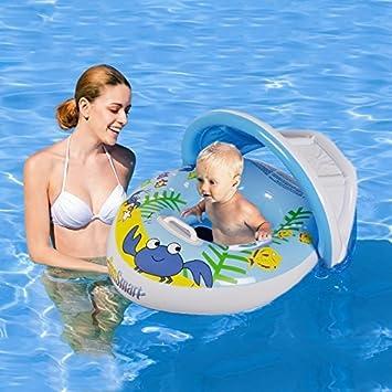 HANMUN Flotador de la Piscina del Bebe Tiene Anillo 2018 Inflable Bote con toldo para el