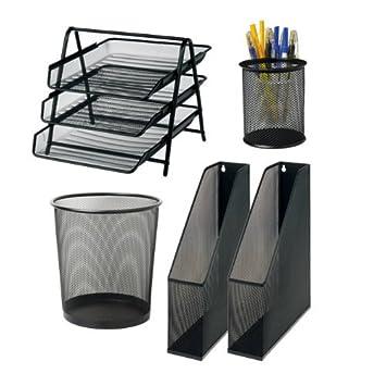 Office Depot Juego de escritorio Negro: Carta Bandeja, Papelera, 3 archivadores y bolígrafo Taza: Amazon.es: Oficina y papelería