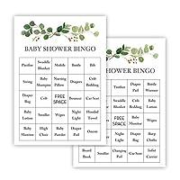 InvitationHouse Greenery Eucalyptus Baby Shower Bingo Cards - Prefilled - Set of 24
