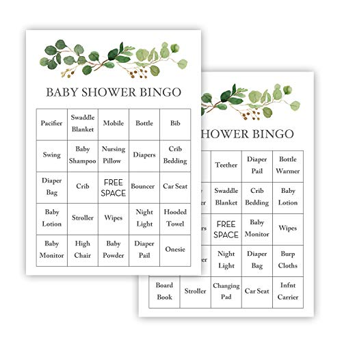 InvitationHouse Greenery Eucalyptus Baby Shower Bingo Cards - Prefilled - Set of 24
