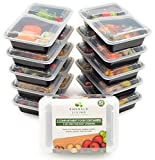 Emerald Living Premium 2 Compartment Meal Prep Container Set. 10 pack of BPA Free Plastic Food Containers with Lids. Food Prep Boxes with Bonus Ebook included [0.8L]