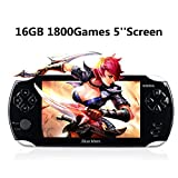 Blue Mars Quality Handhelad Game Console 5 Inch Screen 16GB with 1800 Classic Games, Durable Battery, Nice Gift Choice for Children