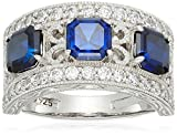 Platinum Plated Sterling Silver Asscher-Cut 3-Stone Vintage Style Band Swarovski Zirconia Accents Ring