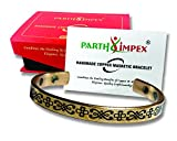 PARTH IMPEX Pure Copper Magnetic Bracelet Arthritis Joint Pain Relief Carpal Tunnel RSI Treatment Healing for Men Women Flower Butterfly Design Antique Finish 6 Earth Magnet Therapy Elegant Bangle