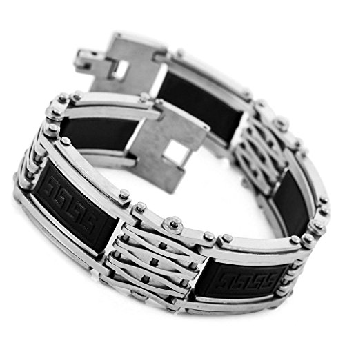 Men's Stainless Steel Rubber Bracelet Link Greek Polished Silver - Kardashian Glasses Kourtney