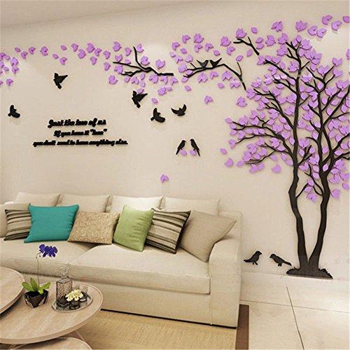 Haihuic Calcomanías de Pared 3D Árboles y pájaros Etiqueta de la Pared de DIY Ajuste de TV Contexto del sofá de la Pared para la decoración del hogar Living Room Nursery 1m x 2m (Púrpura Claro)