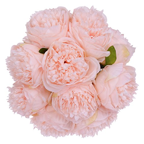 Lvydec Vintage Peony Artificial Flowers - 2 Pack Silk Flowers Bouquet 10 Heads Peony Fake Flowers for Wedding Home Decoration(Spring Pure Pink)