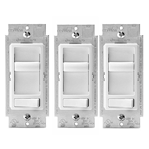 Leviton 6674-P0W SureSlide Universal 150-Watt LED and CFL/600-Watt Incandescent Dimmer, White (3 Pack) ()