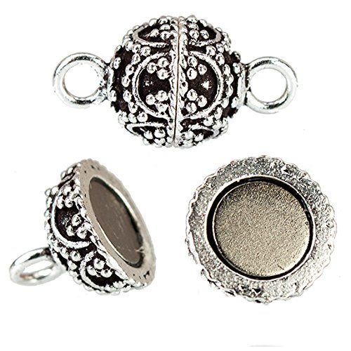 (10mm Antiqued Sterling Silver Plated Copper Magnetic Clasp Arch with Miligrain 1 Piece)