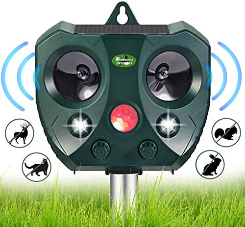 Solar Ultrasonic Animal Repellent Outdoor- Waterproof Garden Deer Away Repeller for Trees, Solar Powered Motion Sensor Activated Rodent Deterrent Squirrel, Cat, Rabbit - Racoon, Skunk Repellent