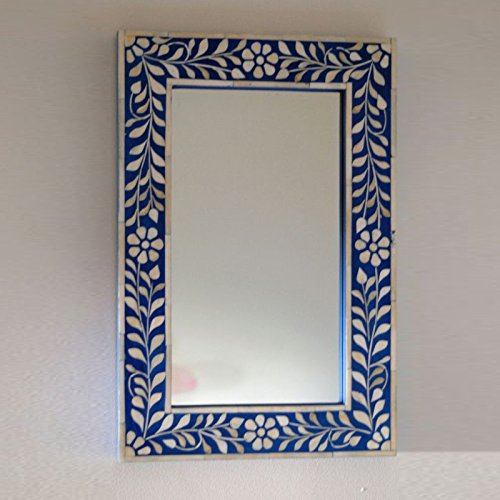 Antique Rustic Bone Inlay Floral Mirror Frame Blue Handmade Inlay ()