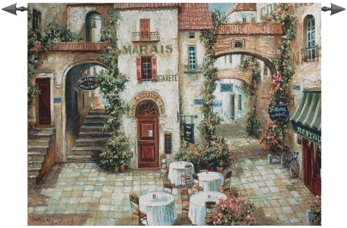 Manual Weavers Le Marais Paris France Outdoor Cafe Cotton Wall Art Hanging Tapestry 35 x 53