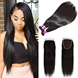 Ubuty Brazilian Hair With Closure 3 Bundles Unprocessed Brazilian Virgin Hair Straight Human Hair Extensions With Lace Closure Free Part Natural Black Color 18 20 22 with 16
