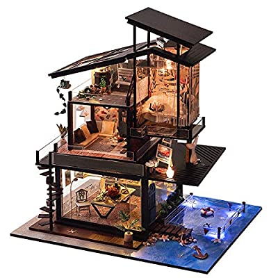 BEAUTY'S CASTLE DIY Valencia Coastal Villa Wooden Dollhouses with LED Light and Wooden Frame for Creative Birthday Gift: Toys & Games