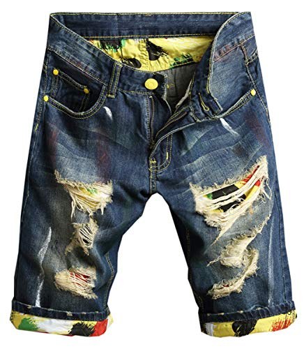 (Betusline Men's Fashion Denim Bleached Ripped Short Jeans Blue,31)