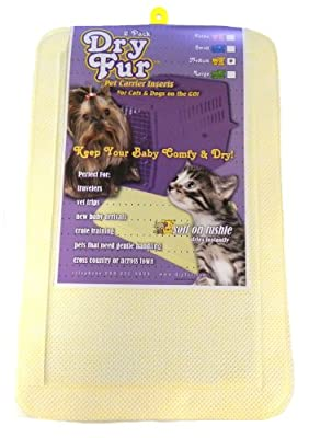 """DryFur Pet Carrier Insert Pads size Medium 23.5"""" x 15.5"""" Yellow - 2 pack"""