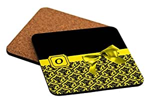 """Rikki Knight Letter """"O"""" Yellow Monogram Damask Bow Design Cork Backed Hard Square Beer Coasters, 4-Inch, Brown, 2-Pack"""