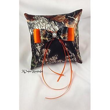 Mossy Oak Satin Camo & Orange Ring Bearer's Pillow