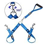 Double Dog Leash - HAPITO Double Dog Leash with Detachable Handle - Adjustable Double Dog Walker, No Tangle Dog Leash Coupler, Training Leash for Walking Two Dogs (New Blue)