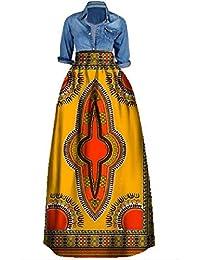 Womens African Floral Maxi Skirt Plus Size High Waist A Line Long Skirts