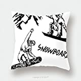 Custom Satin Pillowcase Protector Hand Drawn Illustration With Snowboarders Extreme Winter Sport 514177015 Pillow Case Covers Decorative