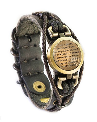 Lost Tribe Designs Love is patient, love is kind - Bible Verse Bracelet - Corinthians 13:4-5 (THICK BLACK LEATHER)