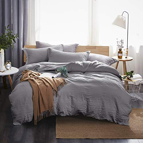Dreaming Wapiti Duvet Cover King,100% Washed Microfiber 3 Piece Bedding Sets ,Solid Color - Soft and Breathable with Zipper Closure & Corner Ties(Gray) (Grey Comforter King)
