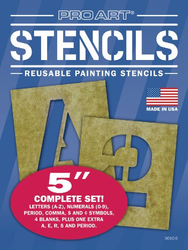 Pro Art 5-Inch Painting Stencil Set, Letters and Numbers - Spray Paint Stencil Art