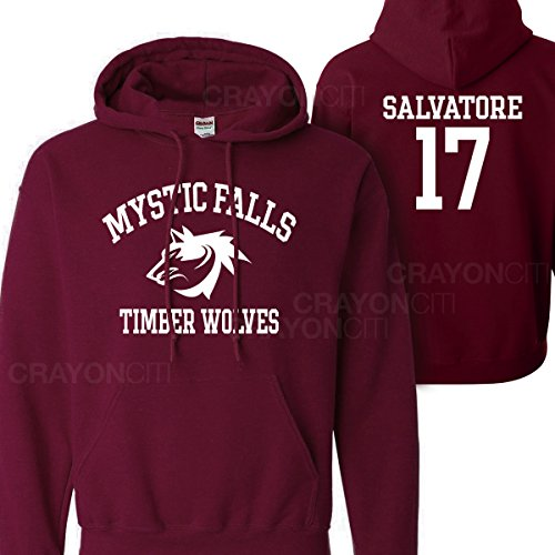 Mars NY Women's Men's Vampire Diaries Mystic Falls Salvatore 17 Hoodie (Medium)