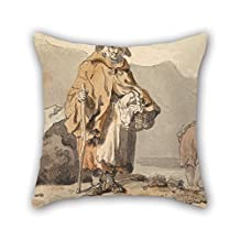 Pillowcase 18 X 18 Inches / 45 By 45 Cm(both Sides) Nice Choice For Bedroom Gf Bedding Office Home Theater Adults Oil Painting Francis Wheatley - An Old Fisherwoman With Two Women Digging For Bait