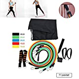 AoToZan 5 Exercise Resistance Loop Bands with Handles, Door Anchor, Ankle Straps and Carry Bag for Men and Women Stretching Home Gym