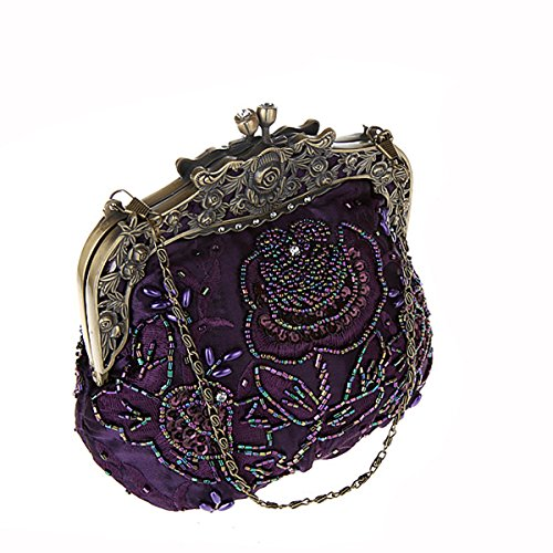 Handbag Ladies and Flada Handmade wedding Coffee Party Prom Sequins Evening Vintage Beaded Gold Clutches Womens UwgnwxCHq