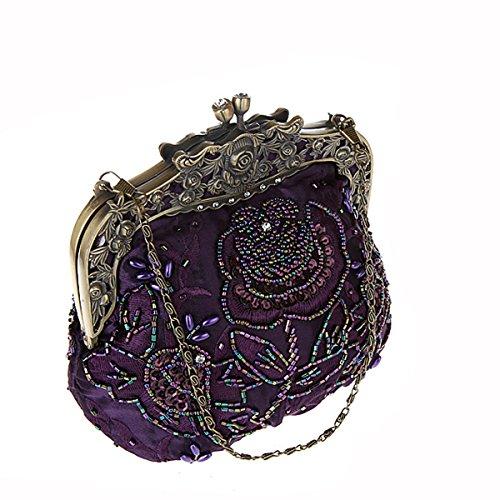 Flada damas y mujeres Vintage lentejuelas bolso hecho a mano con cuentas noche embragues baile fiesta de la boda de vino rojo Púrpura