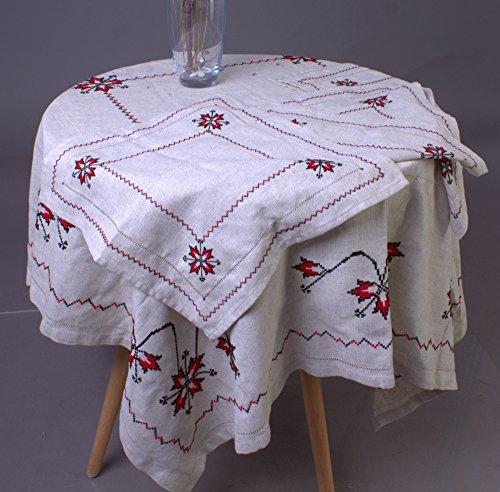 Handmade Embroidered Ukrainian Linen 145x145 cm / 57x57'' + 4 napkins THANKSGIVING DAY SALE by Rushnichok