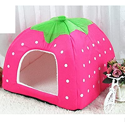 Cute Soft Sponge Strawberry Pet Cat Dog House Bed Warm Cushion Basket Size:S