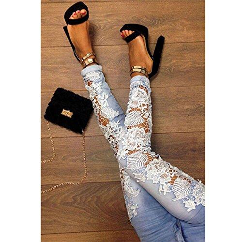 Leggings Bleu Femmes Floral Pantalon Blanc DContractE Crayon LANMWORN Afflig Serr Jeans Noir Clair Branch Patchwork Dentelle Blanc Denim Pantalon DChirS Maigre wUda1qd