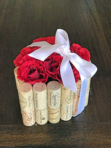 Wine Cork Heart Shaped Flower Arrangement with Roses-Valentines Day Flowers-Valentines Day Centerpiece-Gift-For Her-For Him-Wine Lover Gift