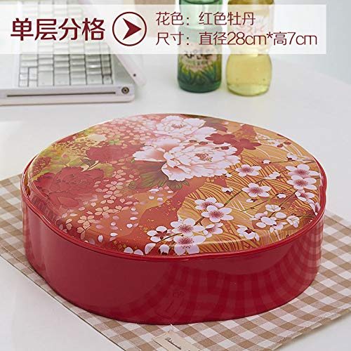 (AdorabFruit Plastic fruit plate creative multi-coloredcandy box Chinese New Year living room dried fruit box plastic compartment,red peony single layer)