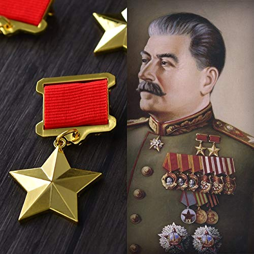 BeesClover Soviet Union Great Patriotic War Golden Star Russian Medals Army of Russia Badges with Pin CCCP Military Ribbon Badge Show ()
